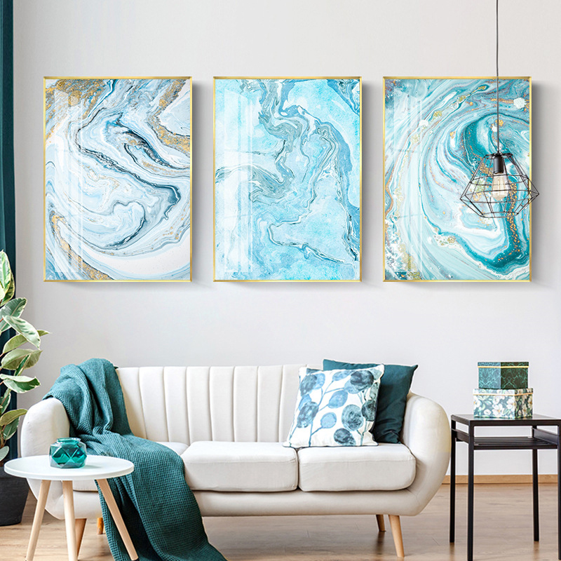 Nordic White Light Blue Canvas Painting Abstract Wall Art Picture For Living Room Big Cuadros Tableaux Big Gold Poster And Print Painting Calligraphy Aliexpress