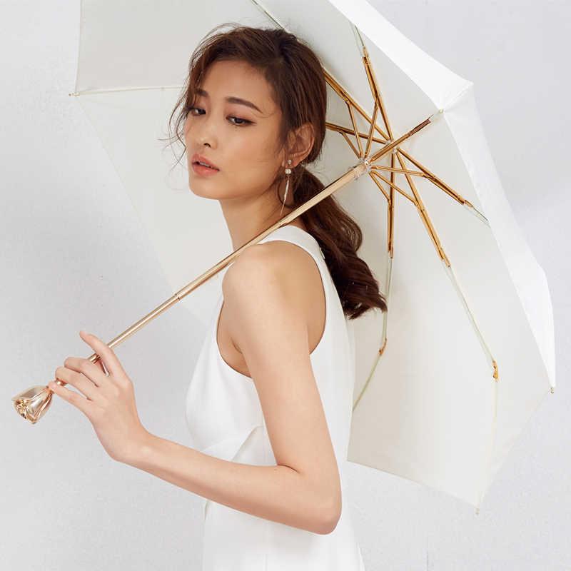 Luxe Goud Rose 3 Vouwen Handvat Paraplu Gift Zon Regen Romantische Elegante Vrouwelijke Zonnebrandcrème Meisjes Uv Bescherming Pocket Parasol B5
