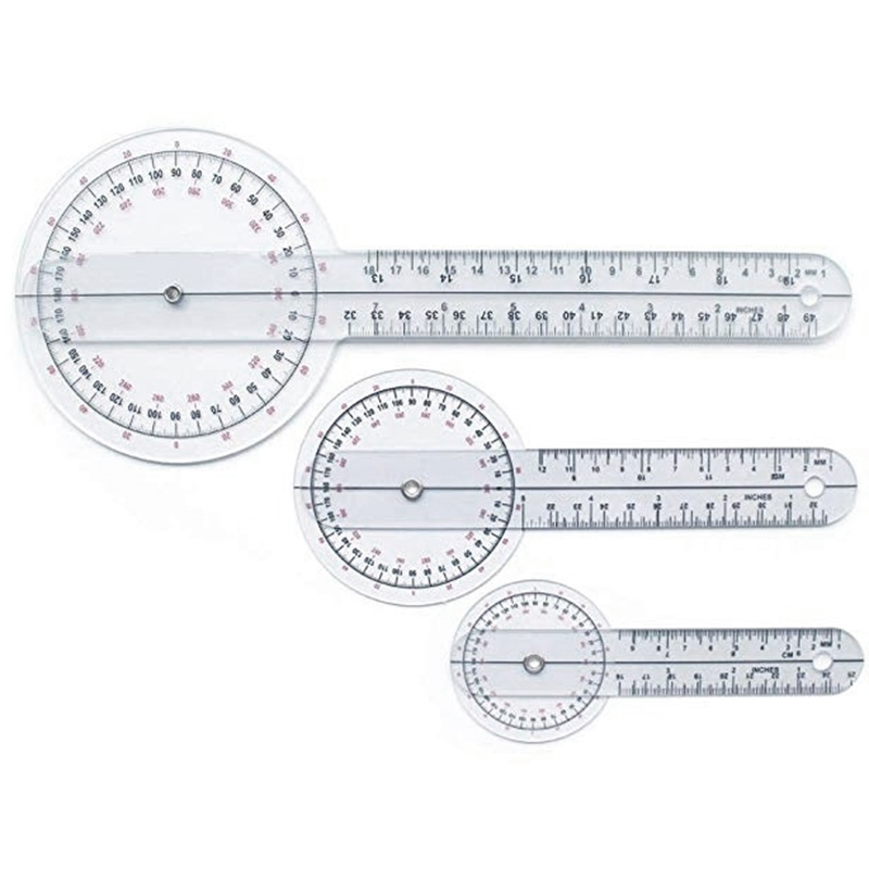 3Pcs/Set Spinals Goniometer Protractors Userful Multi-Ruler Goniometer Angle Medical Spinal Ruler 360 Degree 180 Degree
