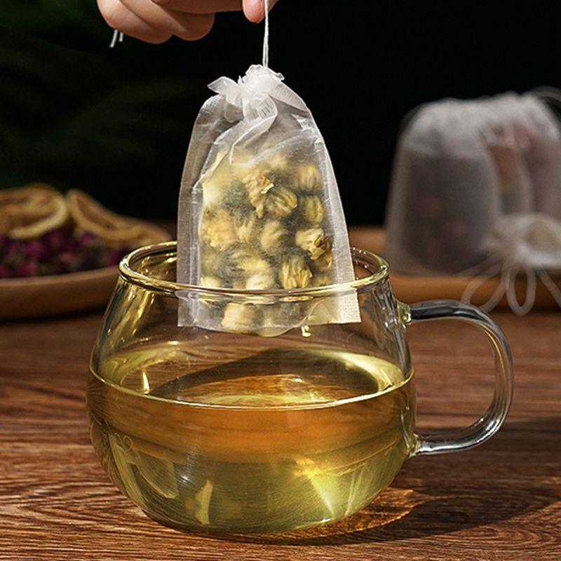 50Pcs/Lot Teabags 5.5 X 7CM Empty Scented Tea Bag Disposable With String Heal Seal Filter Paper For Herb Loose Tea Bolsas De Te