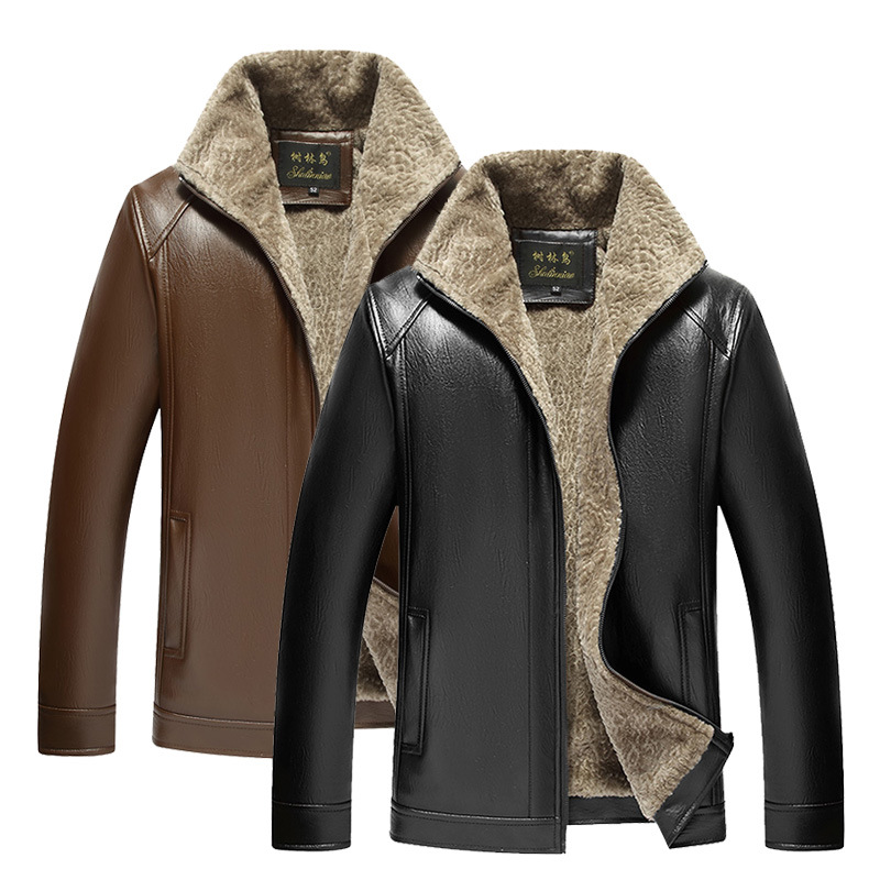 Middle-aged Leather Coat Men's Brushed And Thick Warm Leather Jacket Zip-up Jacket Trade Fair