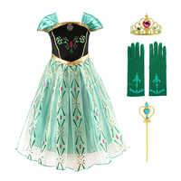 Vestido de princesa Anna para niña, traje de Elsa para bebé, disfraz con peluca, guantes corona, Anna, fiesta, Cosplay, ropa para niña