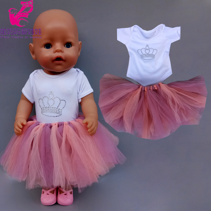 43cm Baby Doll Tutu Pink Lace Dress 18 Inch American Generation Girl Doll Dress Hand-knit Skirt