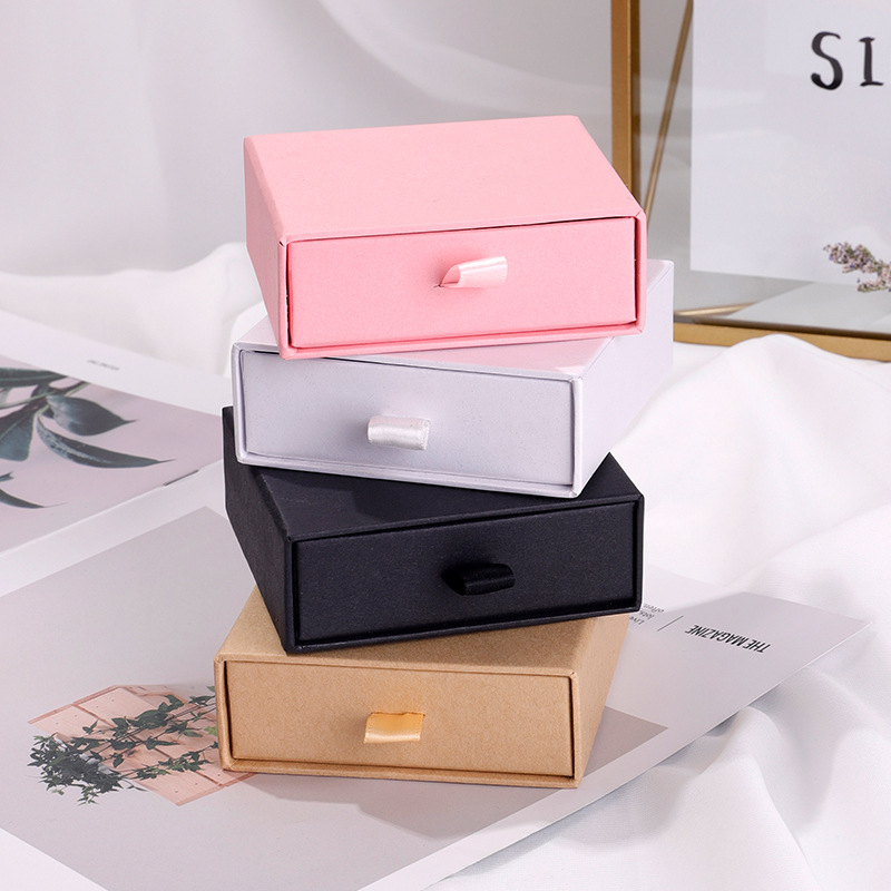 Custom LOGO Design Box Necklace Bracelet Earrings Jewelry Packaging Display Pink 10pcs Pull Out Wholesale Lots Bulk Packaging