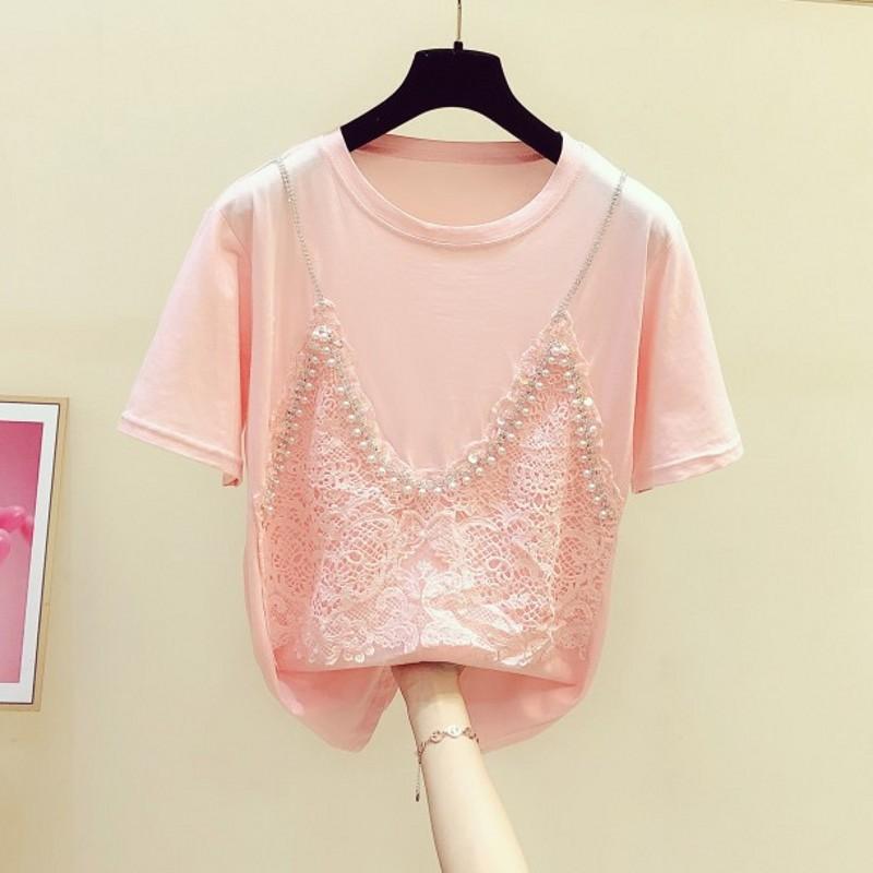 Strap Beaded Diamond T Shirt Woman Hollow Lace Short-Sleeve Round Collar T-shirt Female 2020 Summer New Jumper Tshirts Student