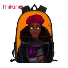 Thikin Cool Afro American Girl School Bag for Girls Backpack Big Capacity Supplies Package Shoulder Women Mochila