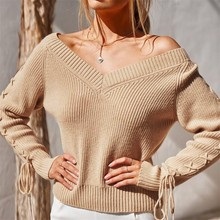 loose sweater womens sweaters Plus Size Womens Solid V-Neck Long Sleeve Strappy Pullover Knit Sweater Top Y827