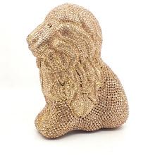 Львиная форма клатч кошелек черный женский Кристалл бриллиантовые вечерние сумки свадьба; вечеринка минодьер Сумки Свадебная Золотая сумка кошелек
