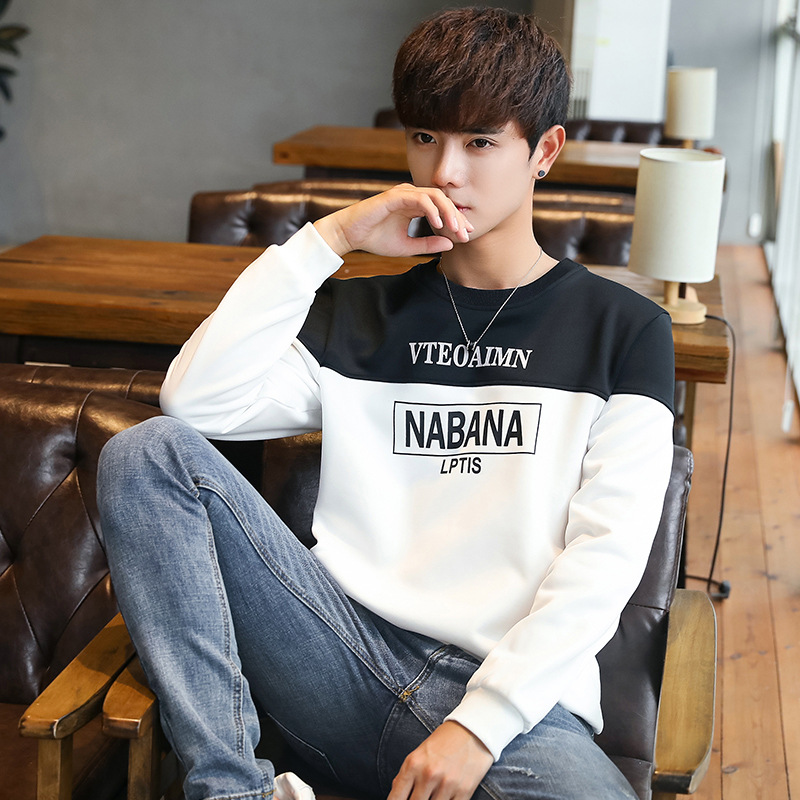 New Style Men Long Sleeve Spring Crew Neck Pullover Hoody Men's Teenager Korean-style Casual Tops Fashion