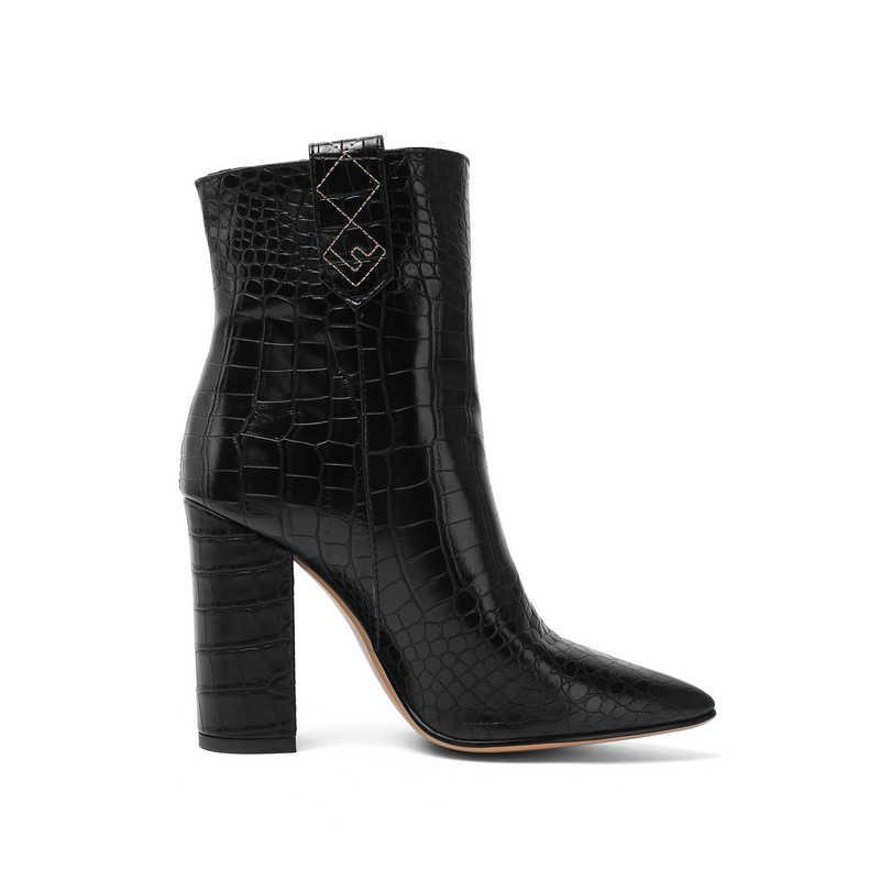Marka tasarım suni deri yarım çizmeler kadınlar için kare blok topuk kısa çizmeler bayanlar sarı siyah kahverengi beyaz çizmeler 2019 kış