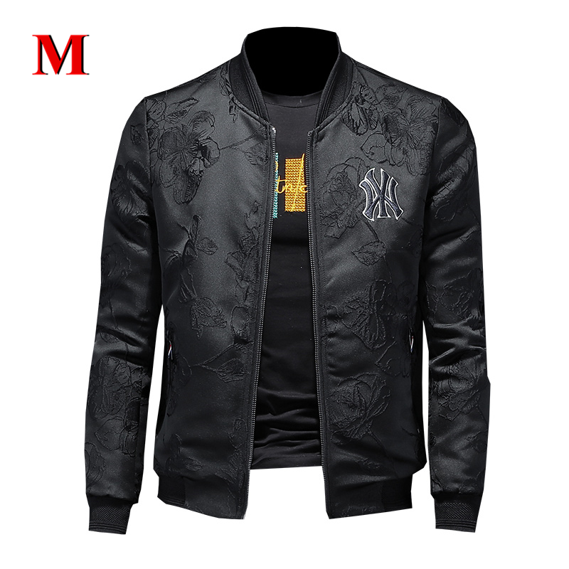 MENNE 2020 New Men Jacket Black Embroidery Logo Jacket Men Coat