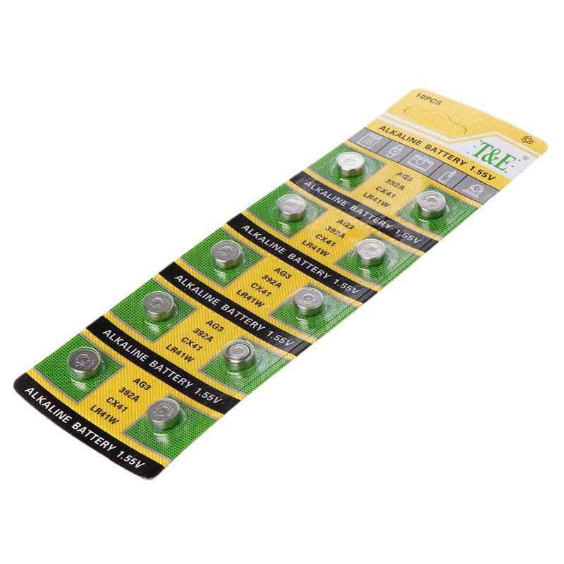 Pila alcalina AG3 1,55 V de 10 Uds., pila de botón SR41 192 L736 384 SR41SW CX41 LR41 392, cadena de luces, luz para el dedo, 10 Uds.