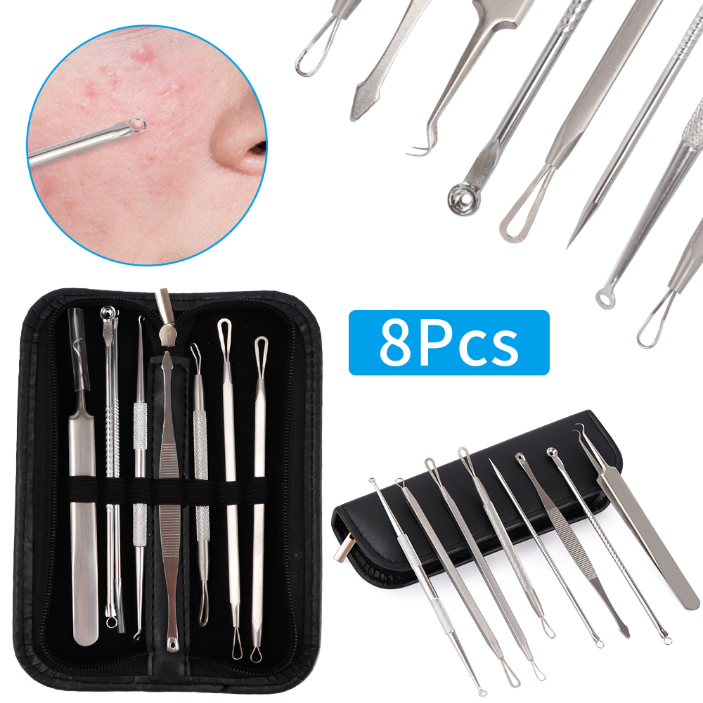 7/8Pcs Black Dot Pimple Blackhead Remover Tool Needles Set For Squeezing Acne Tools Spoon For Face Cleaning Extractor Pore