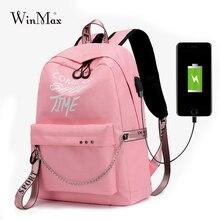 Winmax, светящийся женский рюкзак с USB зарядкой, модный школьный рюкзак с буквенным принтом, рюкзак с лентами для девочек-подростков, Mochila Sac A Dos