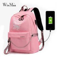 Winmax Luminosa Carga USB Letras Impressão Mulheres Mochila Moda Saco de Escola Do Adolescente Fitas Meninas Mochila Mochila Saco UM Dos