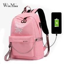 Winmax Mochila con carga USB luminosa para mujer, morral escolar con estampado de Letras A la moda, Mochila con lazos para chicas adolescentes