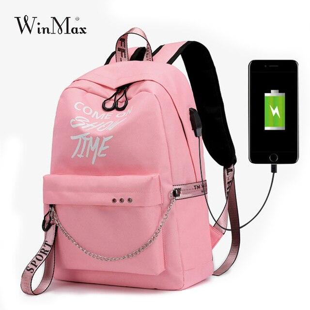 Winmax ışık USB şarj kadın sırt çantası moda mektuplar baskı okul çantası genç kızlar şeritler sırt çantası Mochila kese Dos