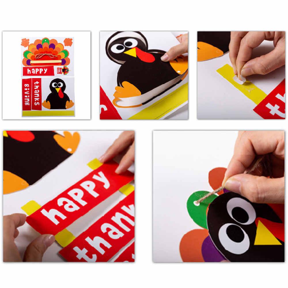 เด็ก DIY กระดาษทำด้วยมือของเล่นวันขอบคุณพระเจ้าตุรกีประตูแขวนเด็กอนุบาลตกแต่งแต่งตัวสติกเกอร์กระดาษของเล่น