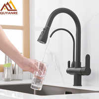 Quyanre Nero Opaco Filtrata Gru Per La Cucina Pull Out Spray Rotazione di 360 Filtro per L'acqua di Rubinetto A Tre Modi Lavello Miscelatore Da Cucina rubinetto