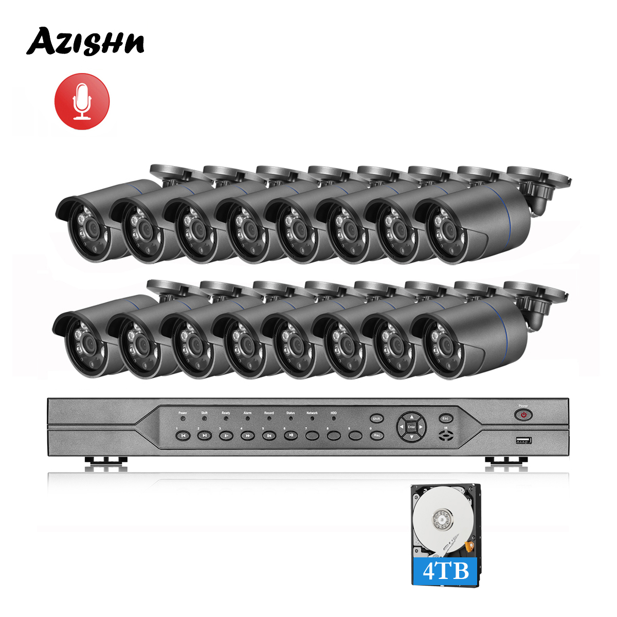 AZISHN 16CH 5MP POE NVR Kit H.265 CCTV Security System Waterproof  5MP 1/2.8