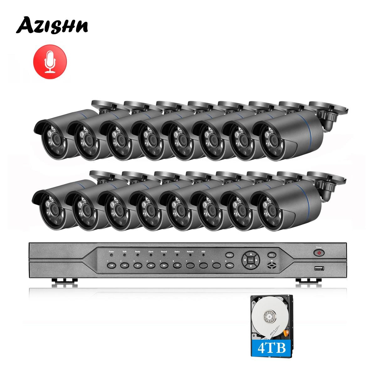 AZISHN H.265 16CH POE NVR Kit 4MP système de caméra de vidéosurveillance 4MP extérieur étanche Audio caméra IP POE sécurité vidéo ensemble de Surveillance
