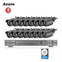 AZISHN H.265 16CH POE NVR Kit 4MP CCTV Camera System 4MP Outdoor Waterproof Audio IP Camera POE Security Video Surveillance Set