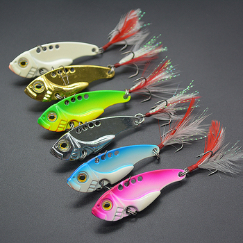 7/10/15G Hard Metal Vib Blade Lure with Feather Sinking Vibration Baits Artificial Vibe for Bass Pike Perch Fishing