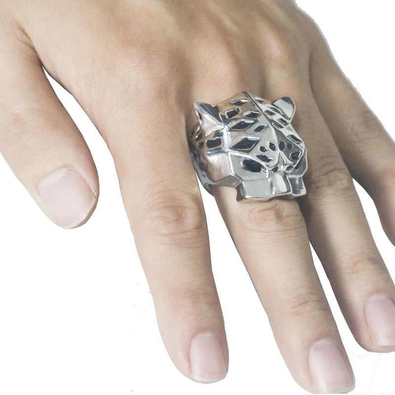 ヒョウヒョウリングライオンヘッド指輪クラシックメンズパンクロックスタイルヒップホップリングファッションゴールドシルバーのためのステンレス鋼