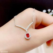 KJJEAXCMY Fine Jewelry 925 Sterling Silver inlaid Natural gemstone ruby Female Pendant Necklace elegant Support test 925 sterling silver flower pendants for women natural hetian jade gemstone elegant orchid engraved fine jewelry