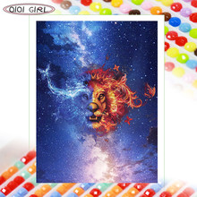 QIQI GIRL Full Diamond Painting Rhinestone DIY Embroidery Making Mosaic Icon Animal Lion Starry Sky Landscape Handicraft Round/S