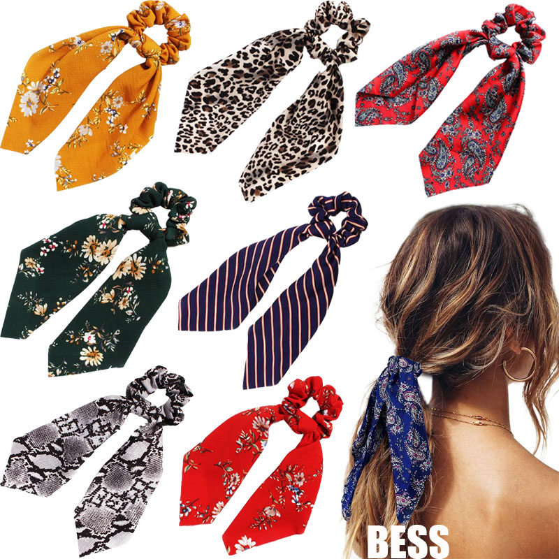 Bohemian Floral  Ponytail Scarf Elastic Hair Rope For Women Hair Bow Ties Scrunchies Hair Bands Flower Print Ribbon Headband
