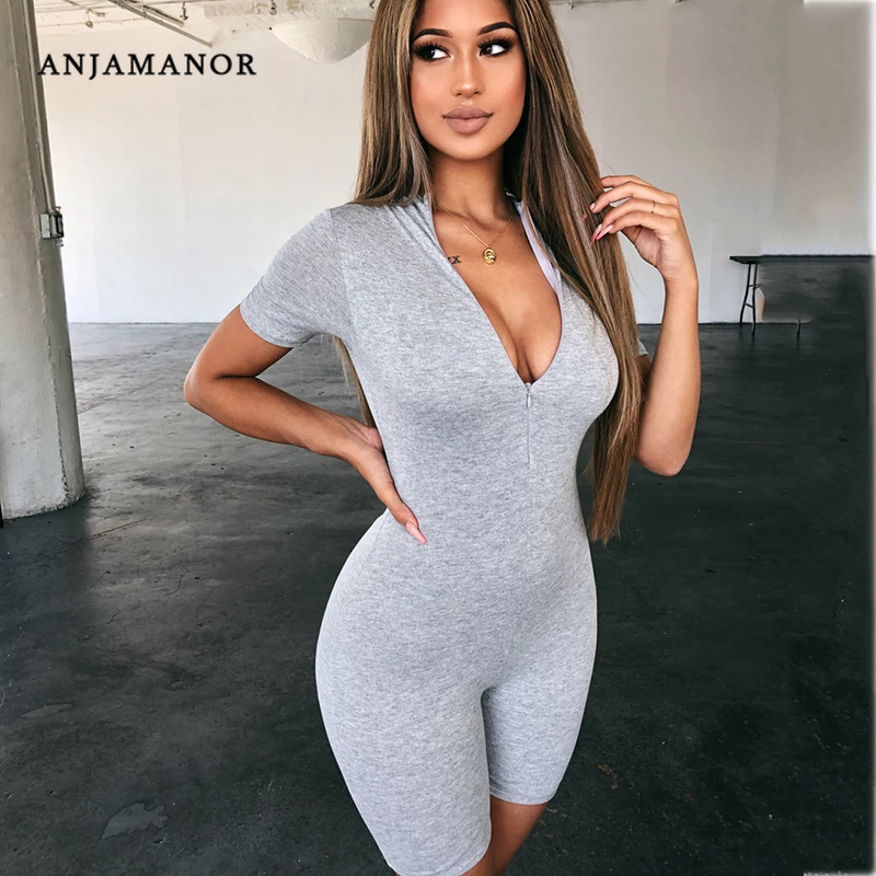 ANJAMANOR Cotton Zip Short Sleeve Bodycon Rompers Womens   Jumpsuit   Fall 2019 Fashion One Piece Outfit Casual Sexy Playsuit D92I85
