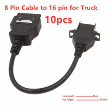 10PCS Professional Heavy Truck Diagnostic Extension Cable  For Volvo 8Pin to OBD2 16Pin Duty Connector 8 Pin 16 pin