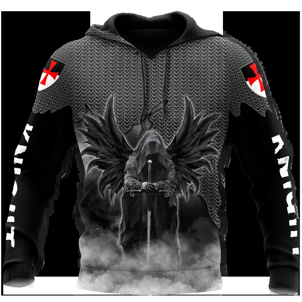 Mens Casual Knight Templar 3D Print Hoodies Harajuku Skull Pullover Women Hood Sweatshirts Hip-Hop Jacket Unisex New Streetwear