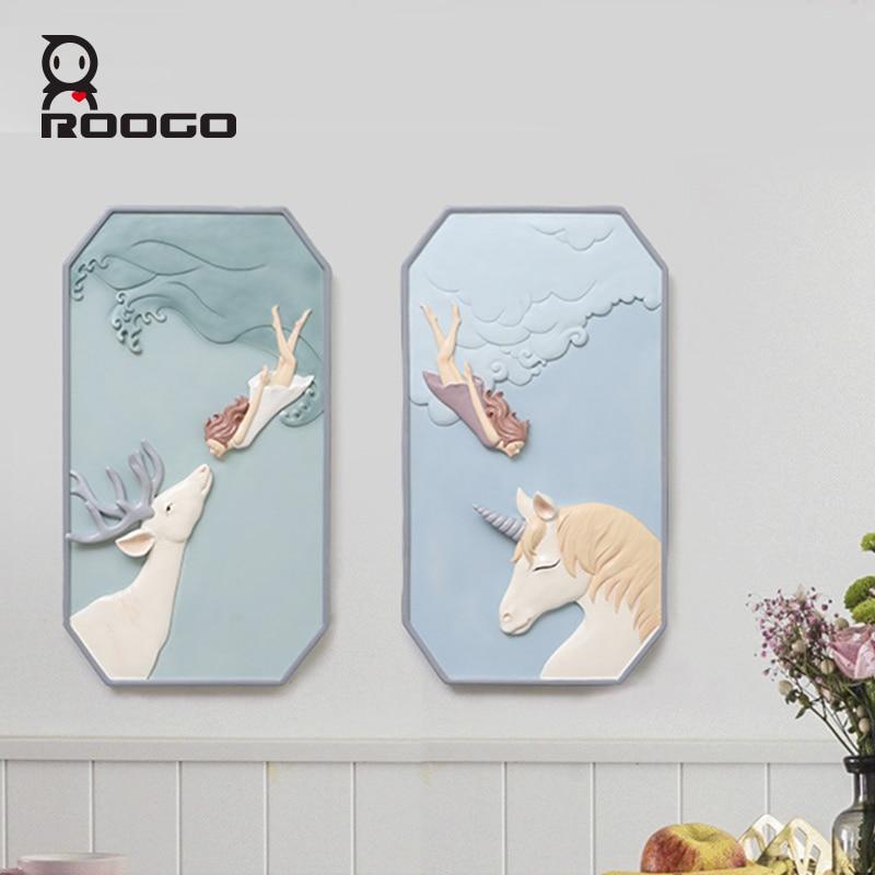 Roogo скандинавские сны Девушка настенное украшение для дома аксессуары 3D настенное искусство полимерная для домашнего декора для декора гостиной - 3
