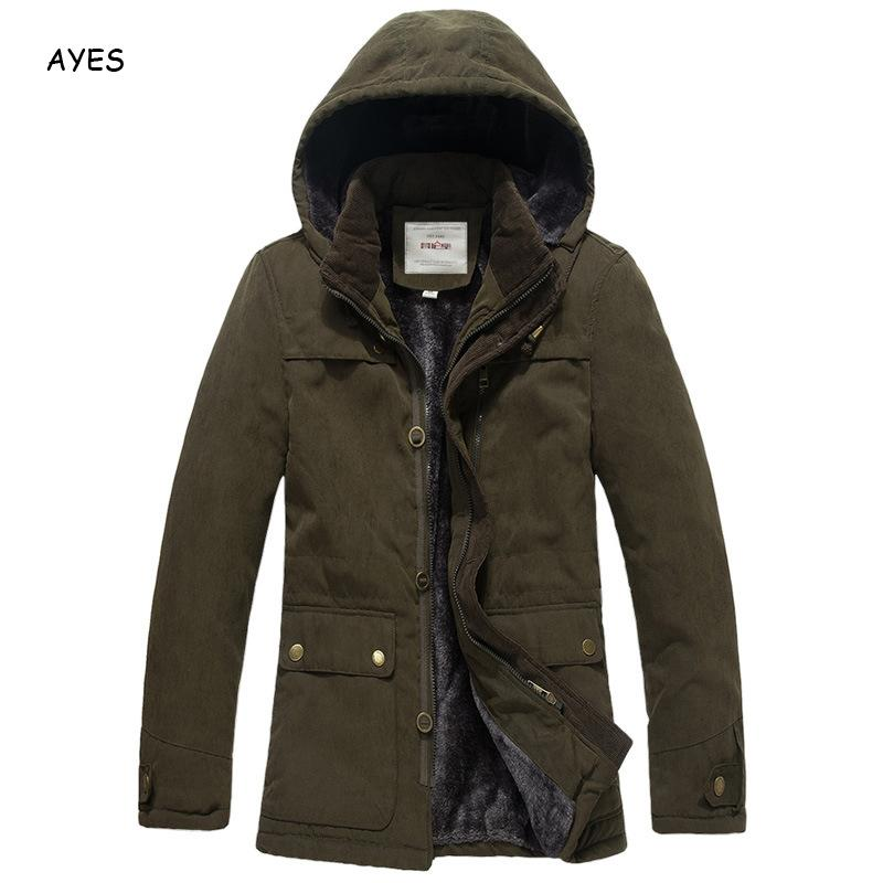 Men's Thick Warm Solid Jacket Coat Winter Male Military Style Casual Jacket Plus Size Hooded Jacket Men New Fashion Men Jackets