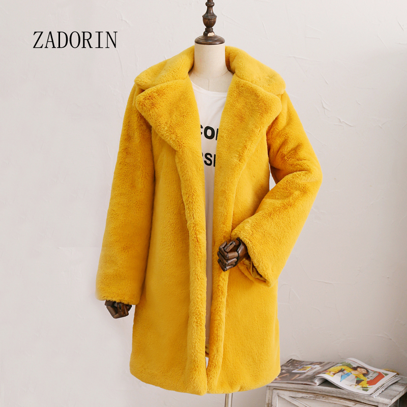 ZADORIN 2019 Long Sleeve Lapel Furry Faux Rabbit Fur Coat Winter Thick Warm Pink Black Fur Coats Female Plush Jacket Plus Size
