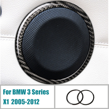 Car Styling Carbon Fiber Car door Speaker Decorative Circle Sticker Loudspeaker Trim For BMW-E90 320i 325i E84 X1 Accessories image