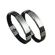 Trendy Sporty Silicone Male Charm Bracelets Silver Stainless Steel Wire Open Men Women Cuff Bangles Pulsera