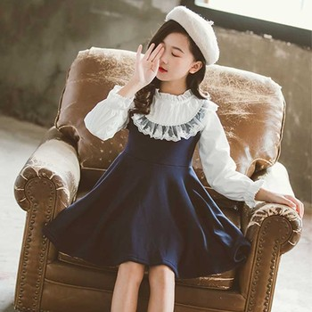 School 2020 New Spring Girls Clothing Dress Baby Casual Dress Kids Patchwork Fall Clothes Children Long Sleeve Dress Blue White fhadst new striped patchwork character girl dresses long sleeve cute mouse children clothing kids girls dress denim kids clothes