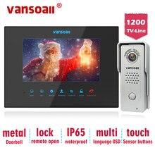 Vansoall видео-телефон двери поддержка SD карта видео-дверной звонок с 7 дюймовым монитором и 1200TVL металлической дверной звонок видеодомофон