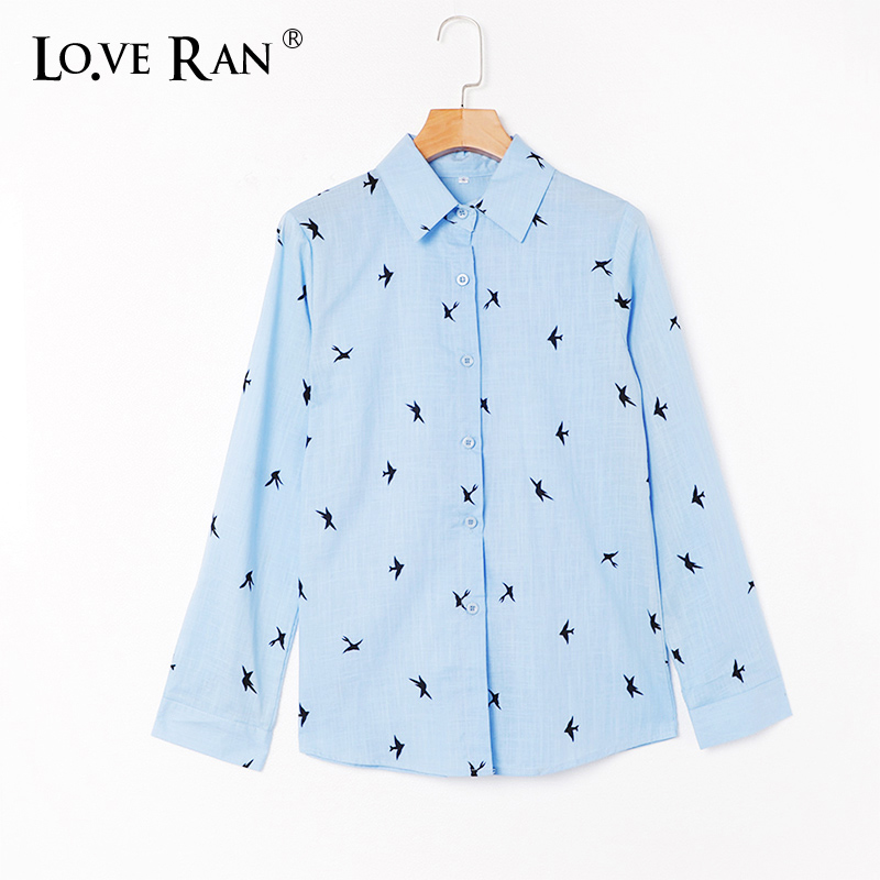 Women's Cotton Birds Print Shirts Long Sleeve Office Ladies Tops 2020 Spring Summer Loose Casual Female Shirt Plus Size 5XL
