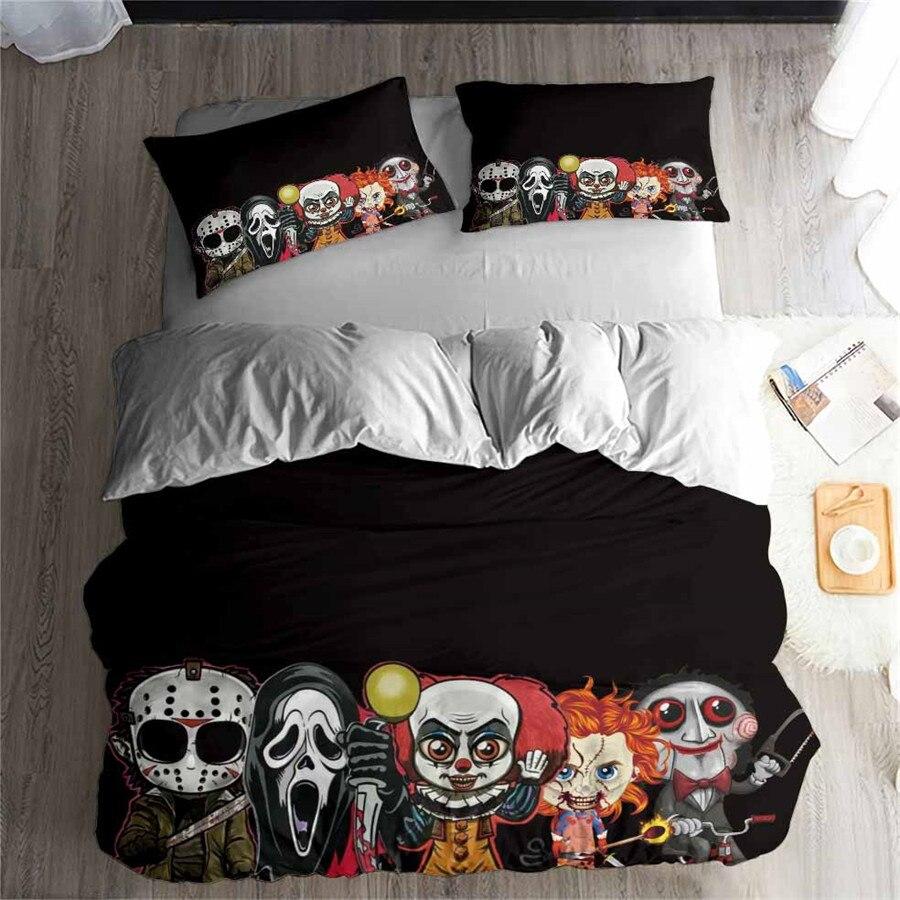 HELENGILI 3D Bedding Set Horror Movie Print Duvet Cover Set Bedcloth With Pillowcase Bed Set Home Textiles #KBRW-11
