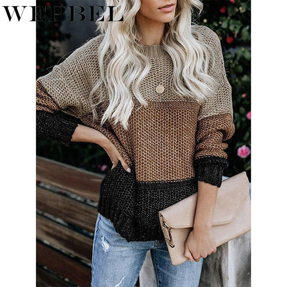 WEPBEL Womens Color Block Oversized Crewneck Sweaters Striped Long Sleeve Loose Chunky Knitted Pullover Jumper Tops