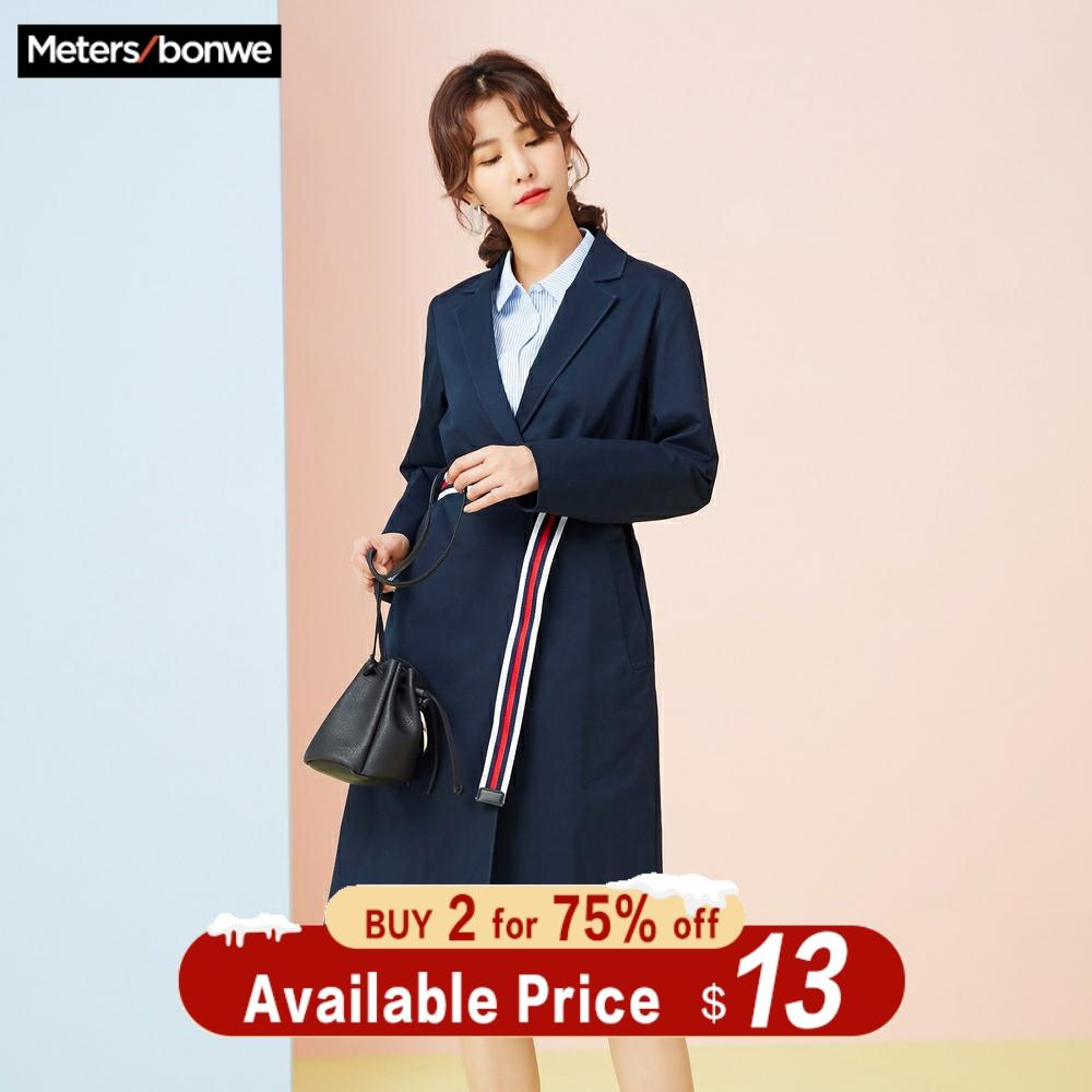 Metersbonwe Brand Female Spring Casual Simple Student Temperament Vintage Coat Trench Suit