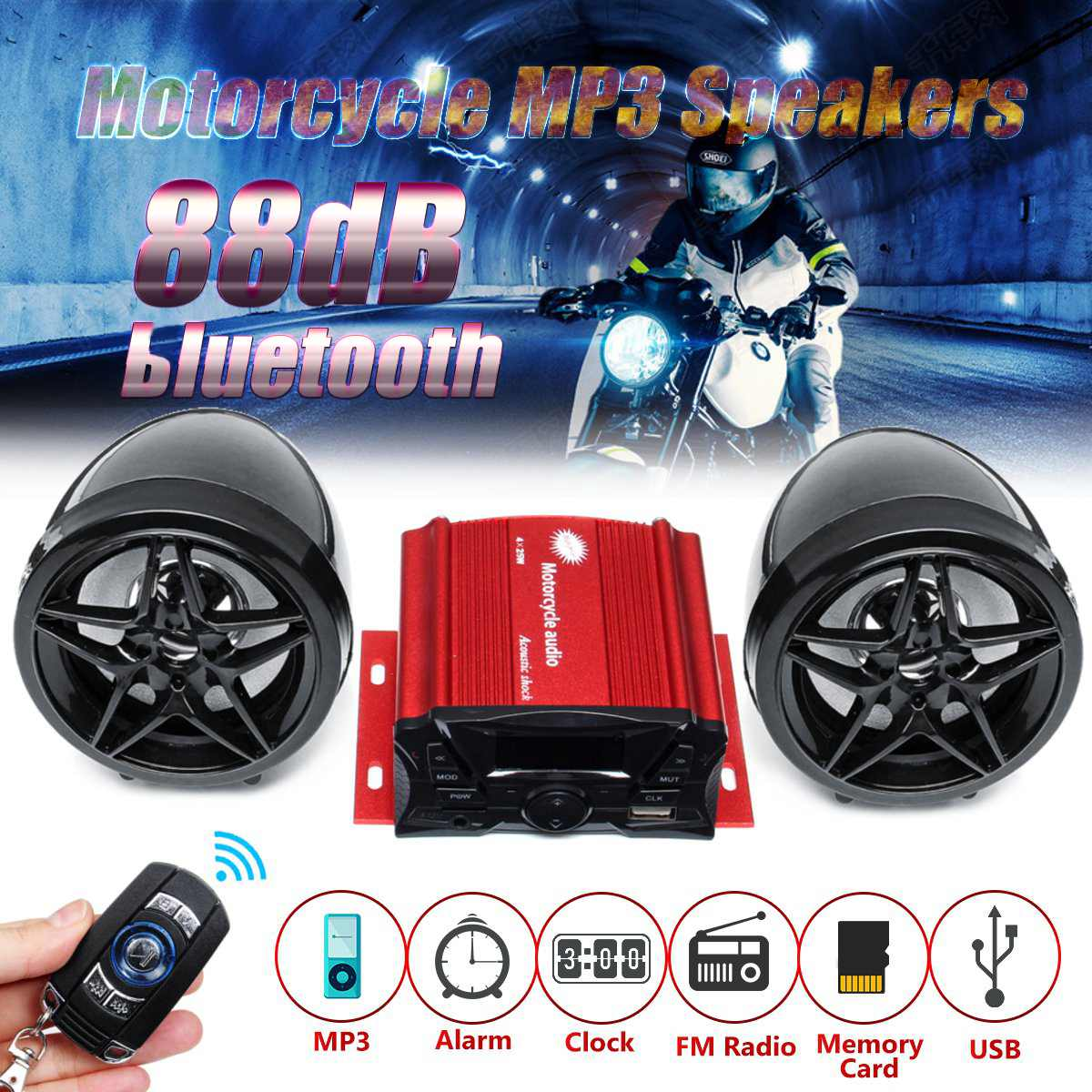 Motorcycle bluetooth Audio Sound System Stereo Speakers FM Radio MP3 Music Player Scooter ATV Remote Control Alarm Speaker|Motorcycle Audio| |  - title=