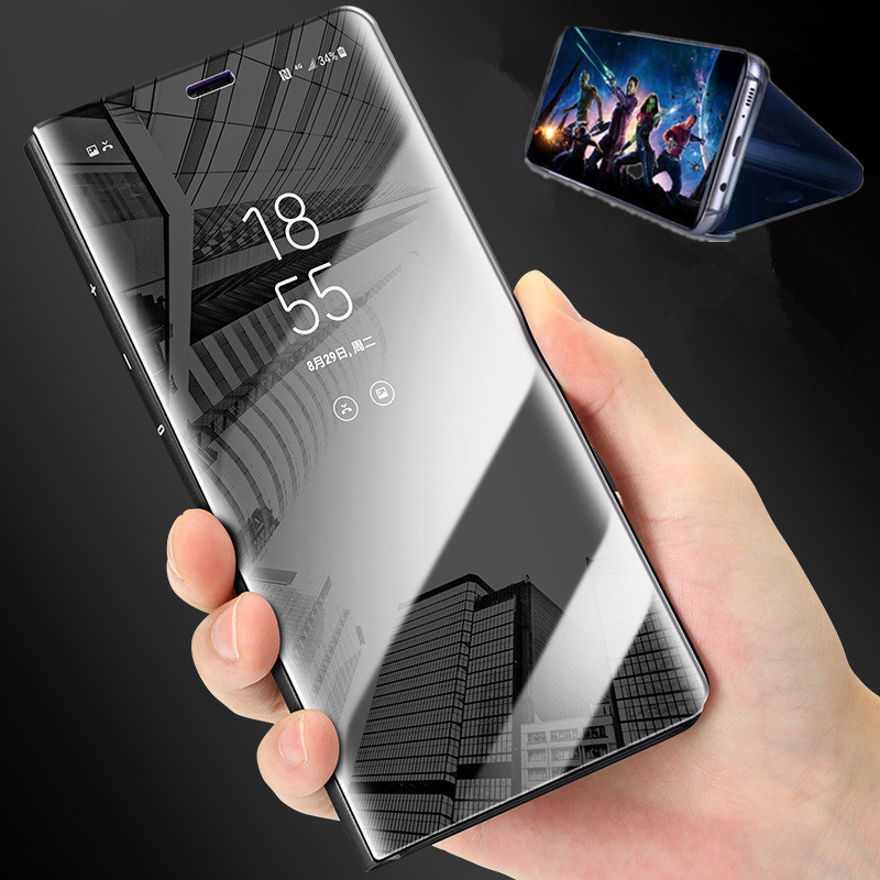 Luxury Plating Mirror Cellphone <font><b>Flip</b></font> <font><b>Case</b></font> For Huawei <font><b>Mate</b></font> 8 9 10 Pro <font><b>20</b></font> <font><b>Lite</b></font> 20X 360 Full Protective Shell For Nova 3 3E 3I 4 4E image