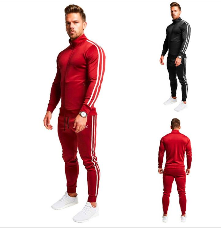 Sweater Sportswear Suit Men's Hoodie Color Matching Two-piece Set