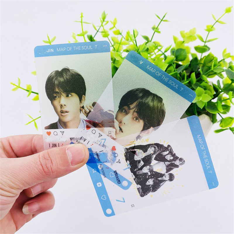 4pcs/set PVC Scratch Proof Bangtan Boys Transparent MINI LOMO Card Photocard Map Of The Soul 7 JUNG KOOK JIMIN JIN SUGA J-HOPE