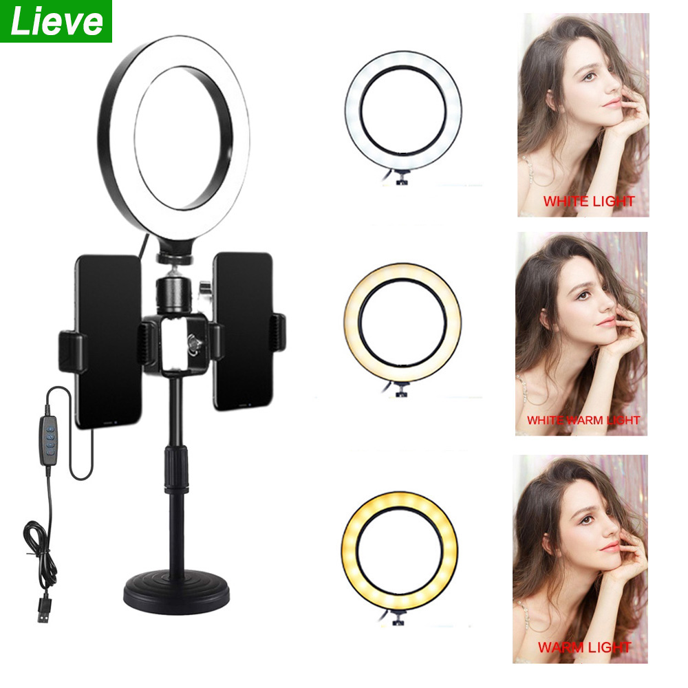 LED Ring Light With Round Desktop Stand 3 Light Modes 6inch Photography LED Selfie Light For Live Streaming YouTube TikTok Video